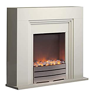 Warmlite WL45011 Electric York Fireplace Suite with Adjustable Thermostat Control, Safety Cut-Out System, Realistic LED Flame Effect, Pebbles Included, 2 Heat Settings 1000-2000 W, Ivory