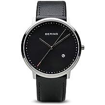 Bering Classic - Reloj analógico de caballero de cuarzo con correa de piel negra - sumergible