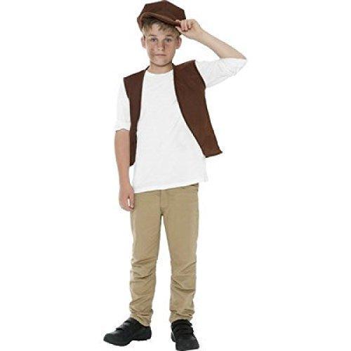 Jungen-braun-Sofort viktorianischer Zubehörset armen Bauern-Straßenkind Geschichte Book historischen Tag Kostüm Outfit (Viktorianischen Tag Kostüme)