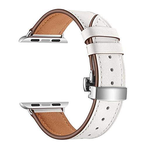 Vamoro Lederarmband Ersatzband Ersatz Uhren-Armband Schmetterlingsschnalle Leder Armbanduhr Armband für IWatch Apple Watch 4 44mm(Weiß)