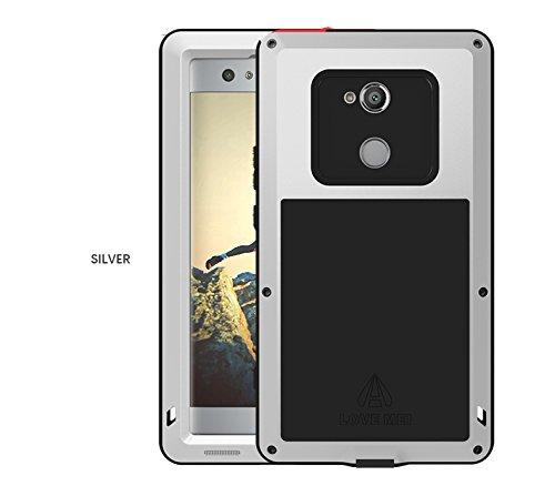 LOVE MEI Kompatibel für Sony Xperia XA2 Ultra Hülle,Stoßfest/Anti-Drop/Anti-Schnee/Staubdichtes Gehäuse,Hybrid Metallstoßfängerund Anti-Rutsch-Silikon Heavy Duty Cover Shell(Mit gehärtetem Glas)