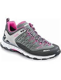 Meindl - Botas de senderismo de cuero y tela para mujer gris Gris antracita y rosa, color gris, talla 7