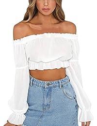 OUFour Primavera y Otoño Crop Tops Mujeres Cuello Barco Camisetas de Manga  Larga Blouses Slim Colores cabdfdaff57b