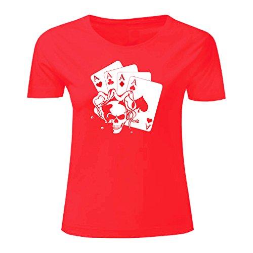 Art T-shirt, Maglietta Skullaces, Donna Rosso