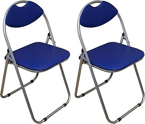 Chaise de bureau bleu, pliable et matelassée Harbour Housewares - Boîte de 2