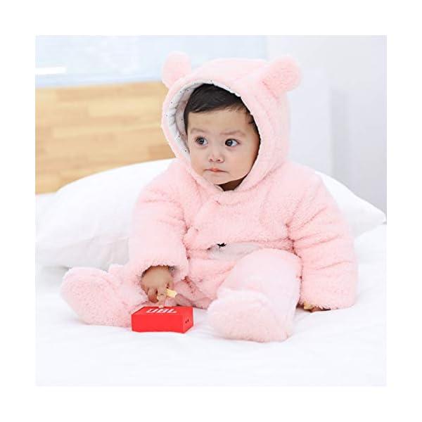 Krafbean – Monos Enteros de Bebé Franela Cálido Mameluco Infantil con Capucha Mangas Largas Recién Nacido para Otoño Invierno Cómodo – 0-3 Meses