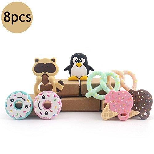 baby tete Jouets de Hochet en Bois Jouet de Dentition en Silicone Qualité Alimentaire Pendentif Animal en Bois Montessori Toys
