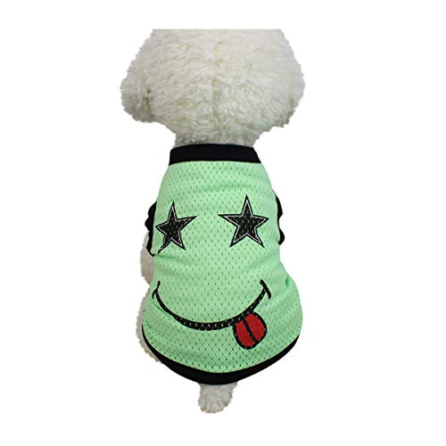Smniao Hundebekleidung Sommer Haustier Hund Kostüm Welpen Smiley Gesicht Mesh Weste T-Shirt Hund Kleidung Weste Bekleidung (XS, Grün)