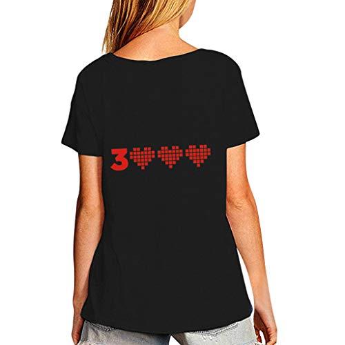 Kviklo Deman Plus Size Mann-Unisexpaar-Abnutzungs-T-Shirt Spitze Ich Liebe Dich 3000mal für Wunder-Eisenmann Tony Stark Druck(M(38),Schwarz-Damen 2) -