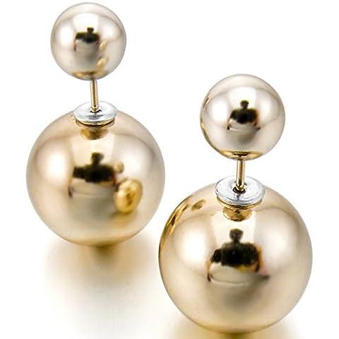 MunkiMix 15mm&8mm Acciaio Inossidabile Resina Stallone Orecchini Oro Perline Bead Palla Classico Elegante