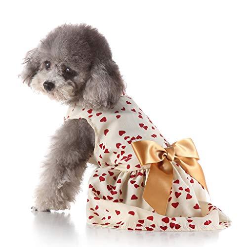 eizeit Haustier Hund Netter Haustier Frühling und Sommer Liebes Herz Druck Rock Hundekostüme T-Shirt Weste Kleidungs Verschiedene Mantel Apparel ()