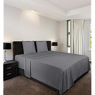 Utopia Bedding 4 Pièce Draps de Lit Ensemble - Microfibre Brossé - (Gris, 140 x 200 cm)