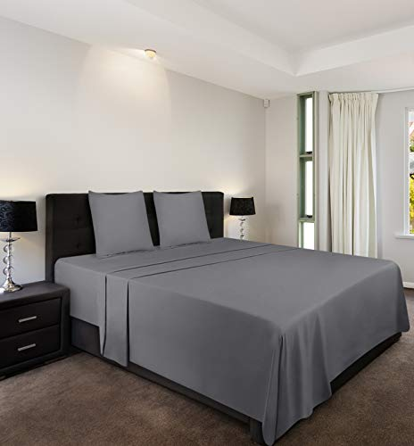 Utopia Bedding 4-Teilige Bettlaken Set - Spannbetttuch 140x200cm + Bettlaken 225x255cm + 2 x Kissenbezüge 80x80cm - Grau - Gebürstete Microfaser