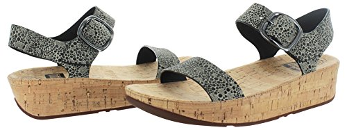 FitFlop Womens Bon Suede Sandals Black White Cirque