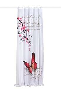 Home fashion 48516–831 Rideau à Pattes Aspect -Silk 245 x 120 cm avec motif Papillon imprimé numériquement Fuchsia