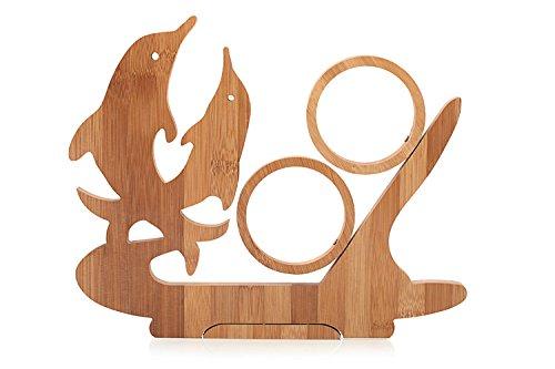 Pieghevole a forma di delfini Bamboo Wine Rack Bottle Holder