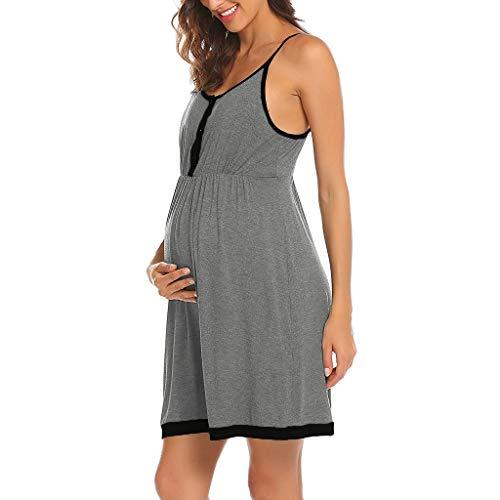 Pingtr - Damen Umstandsmode Kleid,Frauen Mutterschaft HosenträGer Stillen Nachthemd Stillen Full Slips Dress Chiffon Full Slip