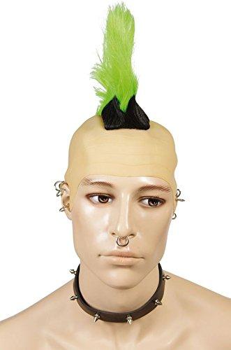 Ptit Clown P 'Tit Payaso-31391-Peluca Cresta de Punk-Talla única-Negro/Verde