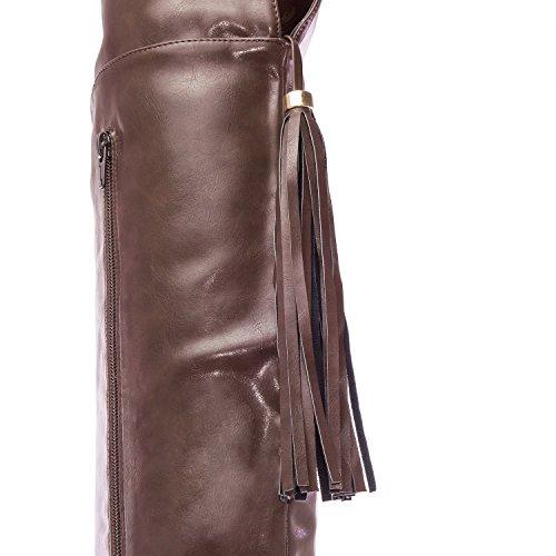 Andres Machado.AM4062.Bottes Style Mousquetaires en Soft.Petites et Grandes Pointures.32/35-42/45. Pour Femmes. Marron