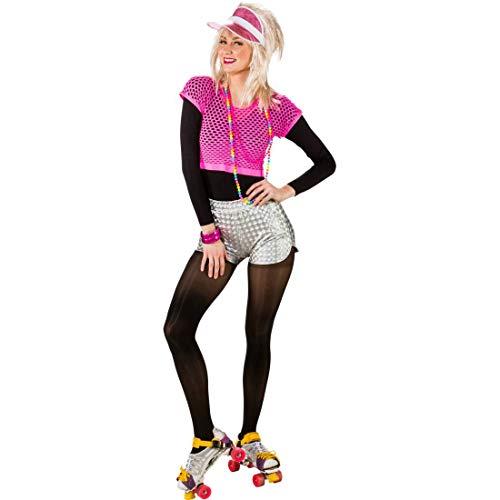 �r Damen Space-Girl / Silber in Größe S/M (36 - 42) / Knappe Frauen-Shorts Aerobic / Genau richtig zu 90er-Party & Karneval ()