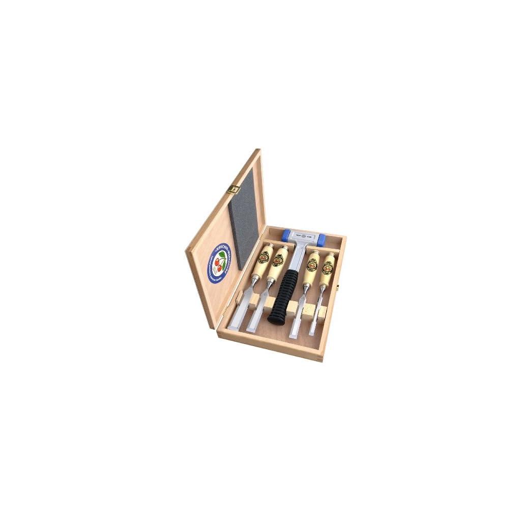 Kirschen-1858-Jubilums-Stechbeitelsatz-mit-patentiertem-rckschlagfreien-Schonhammer-5-teilig-im-Holzkasten