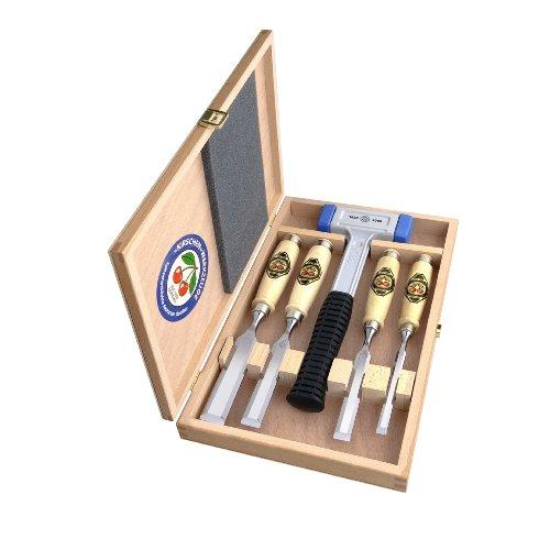 Preisvergleich Produktbild Kirschen 1858 Jubiläums-Stechbeitelsatz mit patentiertem rückschlagfreien Schonhammer, 5-teilig im Holzkasten