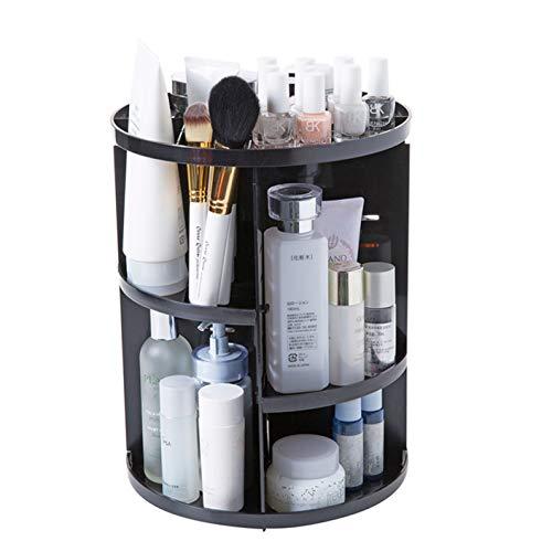 LIANGJING Rotierende Kosmetik-Rack-Dressur-Aufbewahrung Box Desktop-Box Schärpflegerregal Kunststoff-Regal,Black -