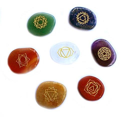 SPIRIT OF AVALON - Chakra Steine Set Palm Stones mit Gravur Symbole 7 teilig