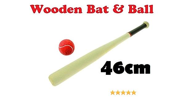 18/'/' Wooden Baseball Bat /& Soft Tennis Ball White Rounders Play Set Garden Sport