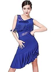 ca96d94cb3 ESHOO Mujer Vestido de Baile Latino sin Mangas con Cuello en V Cha Cha  Rumba Tango