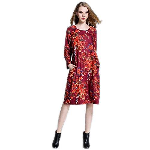 HGDR Retro Art Und Weise Frauen Blumendruck Sommer Und Herbst Langer Ärmel Rundhalsausschnitt Loses Kleid Mit Zwei Porkets Red
