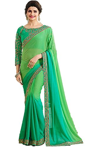 Aracruz Women's Clothing Green Georgette Sarees For Women Party Wear Offer Latest...