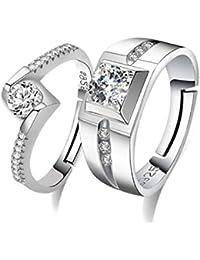 Karatcart Platinum Plated Elegant Couple Adjustable Solitare Ring For Men And Women