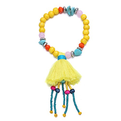 eManco Stretch Perline Bracciali con i della Nappa Ciondoli Charms per le Donne Monili (Stacking Legno)