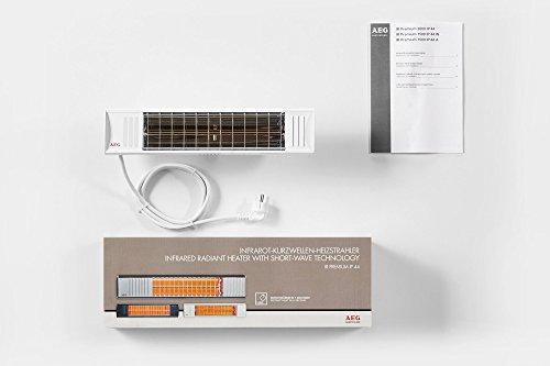 AEG Terrasssen-Heizstrahler IR Premium 1500 W IP44 W, hocheffiziente Qualitäts-Goldröhre, weiß, 234791 - 3