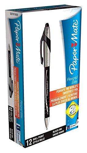Preisvergleich Produktbild PaperMate Flexgrip Elite Druck-Kugelschreiber 1,4mm Schreibspitze 1,0mm Strichstärke 12 Stück schwarz
