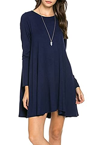 POSESHE Women's long Sleeve Casual Loose Pocket T-shirt Dress Dress Size 8-22 (Medium(UK 12-14), 1Navy