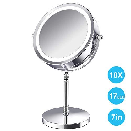 AMELAR LED Kosmetikspiegel Beleuchtet 10x Vergrößerungsspiegel im Badezimmer,7-Zoll-Vergrößerung Makeup Spiegel mit Beleuchtung Doppelseitige