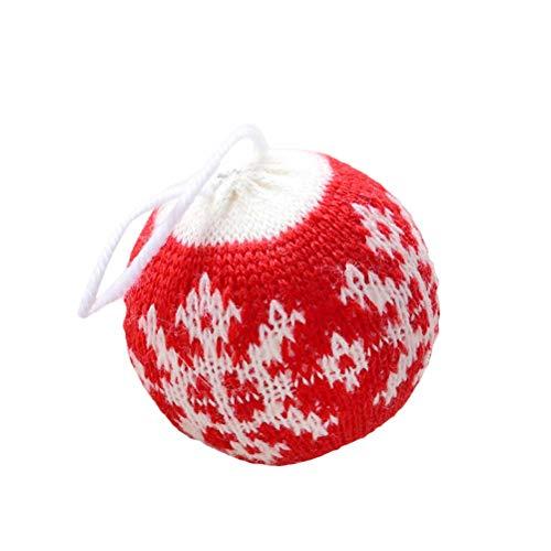 PRETYZOOM Wolle Schneeflocke Muster Weihnachten Kugel hängende Dekoration Weihnachtsbaum Anhänger Weihnachten Ornamente (rot)