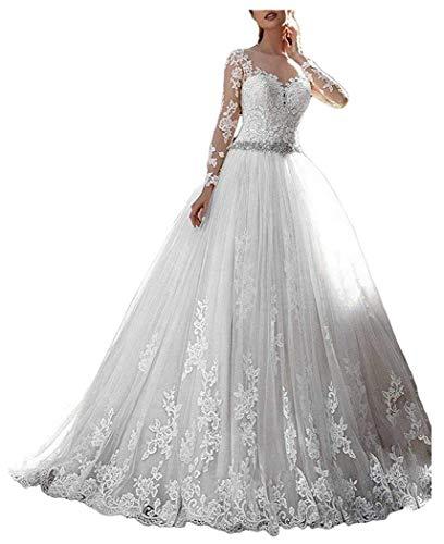 ShineGown Damen Vintage Spitze Brautkleider mit Langen Ärmeln Ballon Hochzeitskleider Weiß Gericht...
