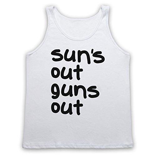 Sun's Out Guns Out Gym Slogan Tank-Top Weste Weis