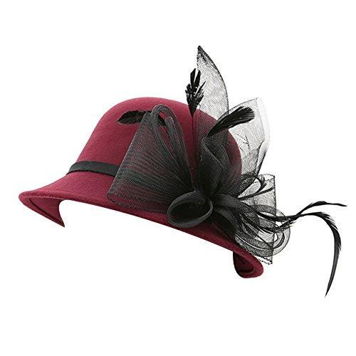 Sitong femmes mode de la gaze de plumes fleur de laine chapeau d?me casquette vin rouge