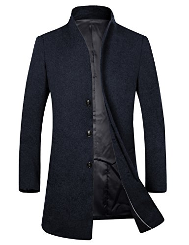 APTRO Herren Wintermantel 80% reine Schurwolle Lange Mantel Business Winter Mantel-Dunkelblau XL