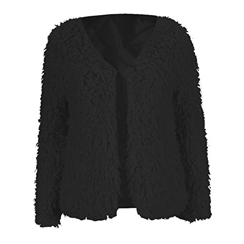 Abrigo para mujer,Longra ❤️ prendas de vestir las mujeres de otoño invierno elegante cálido abrigo largo de piel sintética de pelo chaqueta Outwear (Negro, M)