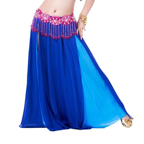YouPue Bauchtanz Taille Kette Damen Tanzkostüm Bekleidung Zubehör Bauchtanzkostüme Bauchtanzperformance Kostüm BH Gürtel Rock Anzug Rock sexy indischen Tanz gehobenen Komfort Gürtel Kostüme Sapphire Lake Blue (Rock Anzug Blue)