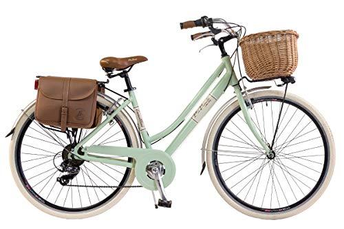 Via Veneto by Canellini Bicicleta Bici Citybike CTB Mujer Vintage Retro Via Veneto Aluminio con Cesto y Campanilla Timbre Bell Via Veneto (46, Verde Claro)