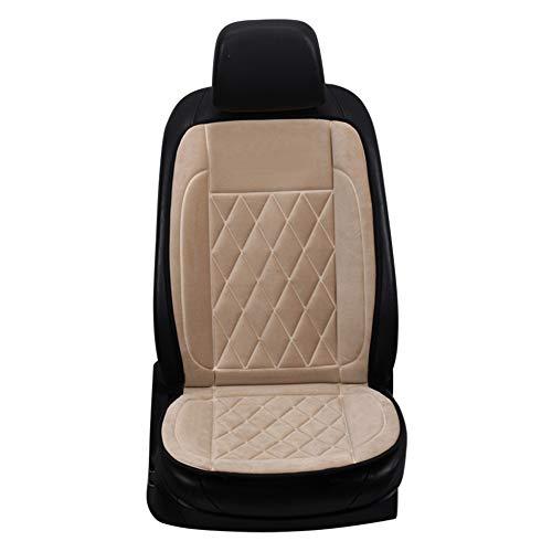 CAR-jxw Beheizte Auto Sitze,Massagestühle Sitzauflagen Rutschfeste 12V Autofrontheizung Sitzpolster Winter Auto/Fahrzeugzubehör,Beige-Seat(x1)