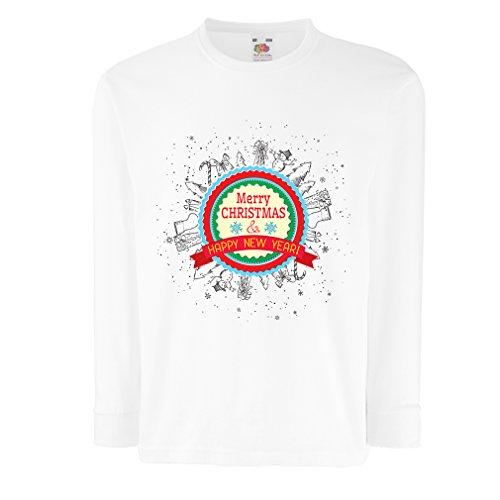 lepni.me Kinder-T-Shirt mit Langen Ärmeln Frohe Weihnachten und EIN glückliches Jahr - Urlaubsoutfits (12-13 Years Weiß Mehrfarben)