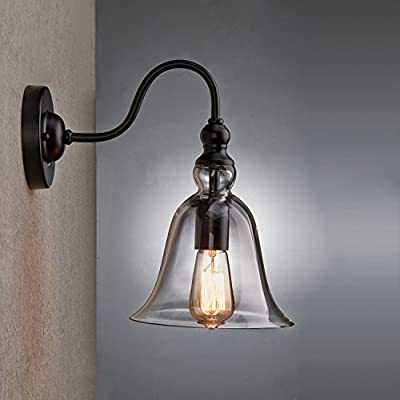 Lighting Retro Bell Glass Shade 1-Light Household Wall Sconce Lamp Fixture Vintage Wall Mount Lighting 1 Light Glass Bell Shade Wall Sconce
