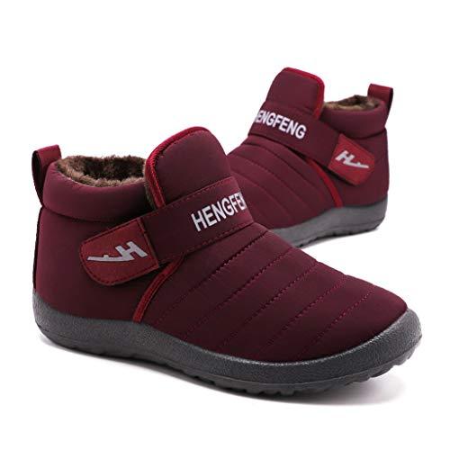 Poamen Paar Schneestiefel Leder Obermaterial rutschfeste Sohle Wasserdicht Sneaker Warm Short Baumwolle Schuhe, Schwarz - D - Größe: 37 1/3 EU